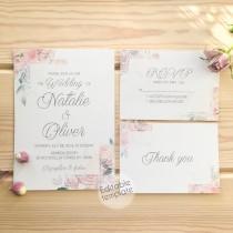 wedding photo - Blush Floral Wedding Invitation Printable Blush Pink Wedding Invitation Set Dusty Blue Wedding Invitations PDF Wedding Invitations with RSVP