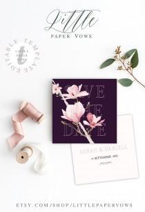 wedding photo - Plum Save The Date editable template, Purple Wedding, Purple Invitation with Orchid Pink flowers, Boho Save the date, Marsala Wedding
