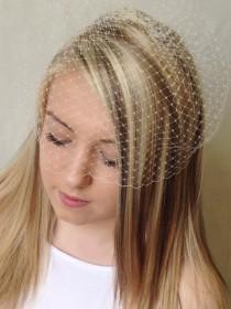 wedding photo - Birdcage Veil - Stunning IVORY or WHITE Retro Vintage Birdcage Bridal Veil - Quality French Net - 20cm Bridal Veil - Handmade Black Veil
