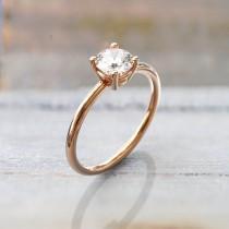 wedding photo - moissanite engagement ring rose gold  alternative engagement ring  bezel engagement ring Promise ring gift