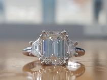 wedding photo - GIA 2 3/4 Carat Estate Engagement Ring, Estate Diamond Ring, Platinum Engagement Ring, Emerald Cut Engagement Ring, 3 Stone Engagement Ring