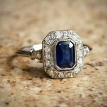 wedding photo - Blue Natural Sapphire Diamond Halo and Platinum Ring