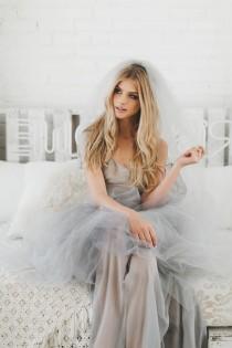 wedding photo - Grey Wedding Veil, Gray Bridal Veil, Gray Wedding Veil, Boho Wedding Veil, Boho Bridal Veil, Floor Length Veil, Gothic Bride Grey Veil 0802