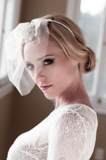 wedding photo - Vintage Mini Wedding Veil with Floral Chantilly Lace and Rhinestone Headband, Bridal Illusion Tulle Birdcage Veil, Style: Charlotte #1428