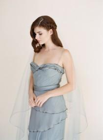 wedding photo - Blue Ombre' Veil, Silver Soutache Bridal Veil, Drop Veil, Dip Dyed Veil, Hand Dyed Ombre' Blue Wedding Veil 1711