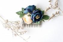 wedding photo - Wedding Hair Comb, Bridal Comb, Floral Hair Comb, Wedding Comb, Boho Flower Comb, Boho, Hair Comb, Dark Blue Comb, Greenery, Champagne