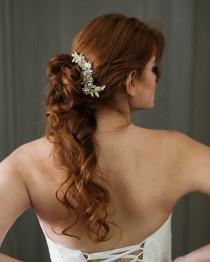wedding photo - Gold Beaded Bridal Comb. Bridal Hair Piece. Gold Lace Comb {Marta}