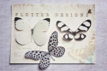 wedding photo - Stunning handmade silk butterfly hair clips in beautiful shades of black and white.