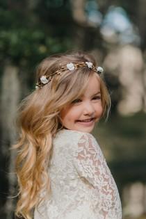 wedding photo - Child Flower Crown - Flower Girl Flower Crown Wreath - Bridal Headpiece - Natural Wedding Hair Wreath - Gold Flower Crown