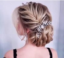 wedding photo - Bridal hair accessory Bridal hair comb Crystal bridal hair piece  Gold Wedding hair pieces Bridal hair clip Rose gold hair comb Bridal crown