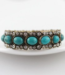wedding photo - Green Gemstone Retro Gold Crystal Bracelet