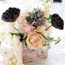 wedding photo - Romantic And Rustic Pastel Centerpieces In Wood Vases // Wendy Laurel Photography // Centerpieces: Dellables