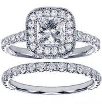 wedding photo - 2.42 CT TW Pave Set Diamond Encrusted Princess Cut Engagement Ring Bridal Set In 14k White Gold - Size 12.  List Price: $10,797.00  Savings:…