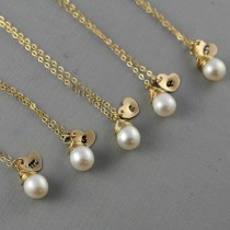 wedding photo - Perfect Bridesmaids' Gifts!  Personalized Initial Heart Charms With Freshwater Pearls On Gold Chains