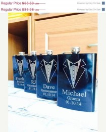 wedding photo - 10% OFF SALE Set Of 3 Engraved Flasks, Personalized Groomsmen Gift,, Black Engraved Flasks,8 Oz. Hip Flask