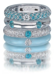 wedding photo - Turq, Enarmel, Blue Topaz And Diamond Ring Stack