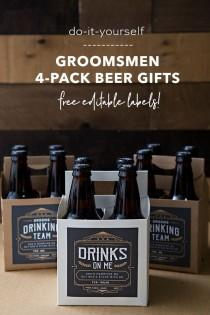 wedding photo - Your Groomsmen Will LOVE This DIY 4-Pack Beer Gift!