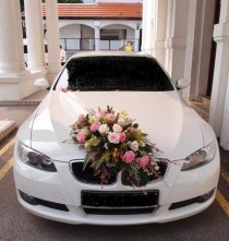 wedding photo - Wedding Car BMW With All White Rose Or Red On Top Instead