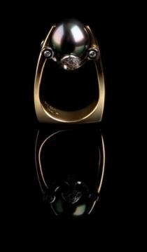 wedding photo - Black South Sea Pearl Ring PR-603                                                                                                            …