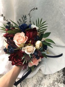wedding photo - Wedding Bouquet Burgundy Navy Blue Red Peony Eucalyptus Wedding Maroon Package Handmade Artificial Faux Flowers Wedding De…