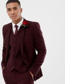 wedding photo - ASOS DESIGN Wedding Skinny Suit Jacket In Burgundy Wool Mix Herringbone