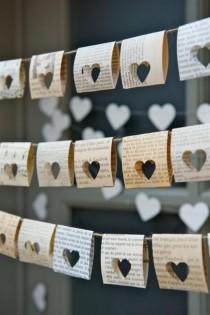 wedding photo - Unique Paper Heart Cutouts For A Pretty Book Page Garland. #valentines_day