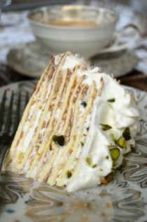 wedding photo - Keto Pistachio & Coconut Crepe Cake