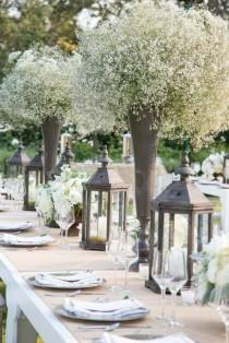 wedding photo - The Most Heavenly Baby's Breath Centerpieces. Courtesy Of Stephanie Hogue Photography