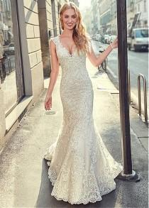 wedding photo - [283.60] Stunning Tulle V-neck Neckline Mermaid Wedding Dress With Lace Appliques & Beadings
