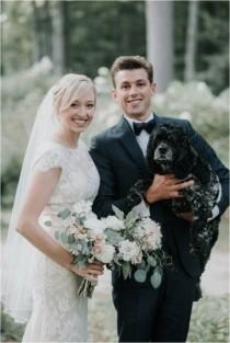 wedding photo - Cute Wedding Pet Idea - Bride   Groom With Dog {Darling Photography}