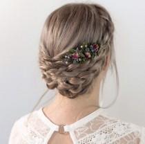 wedding photo - Lavender Flower Comb- Dried Flower Comb- Rustic Wedding Hair Comb- Boho Wedding Comb