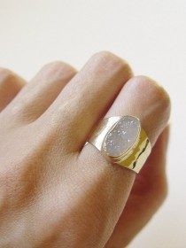 wedding photo - Vanilla Druzy Gold Ring OOAK