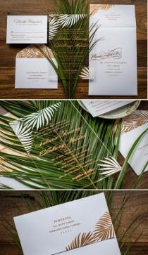 wedding photo - A Crystal Clear Acrylic Wedding Invitation Designed With Pretty Palm Leaves In A Rose Gold And White Color Sche…