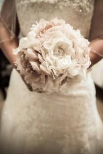 wedding photo - Wedding Bouquet Vintage Inspired Fabric Flower Brooch Bouquet  Ivory Champagne With Pearls Rhineston