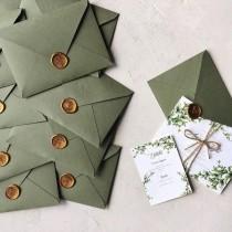 wedding photo - Sage Green Wedding Envelope And Wax Seal