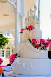 wedding photo - One Of The Blog's Most Popular Disney Wedding Cakes, Complete With Edible White Chocolate Topper Created To Look Like Cinderella's Cas…