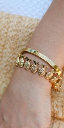 wedding photo - Every Girl Needs A Gold Pineapple Bracelet In Her Life, And This Engraved Roman Numeral Bracelet From Taudrey Is So Special …