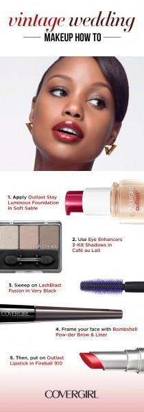 wedding photo - Create An Elegant, Vintage-inspired Wedding Look In 5 Steps. COVERGIRL's Outlast Stay Luminous Foundation And Outlast Lipstick Make It Throug…