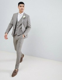 wedding photo - River Island Super Skinny Suit Jacket In Stone Dogstooth