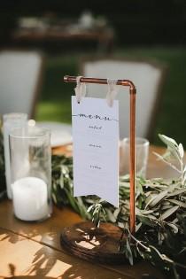 wedding photo - #copperweddingsign #menucard #industrialwedding #tablenumber