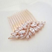 wedding photo - Rose Gold Hair Comb, Wedding Hair Comb, Crystal Hair Comb, Bridal Headpiece, Hair Clip, Hair Pin, Rhinestone Hair Accessory, Hair Piece