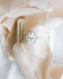 wedding photo - Sunday Oval Halo Engagement Ring!  Made In White Gold, Yellow Gold, Or Rose Gold.. Honestly, However You …