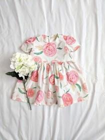 wedding photo - Girls Rose Dress, Girls Floral Dress, Spring Floral Dress, Baby Floral Dress, Toddler Floral Dress, Baby Flower Dress, Girls Summer Dress