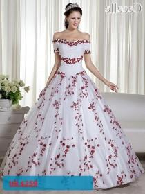 wedding photo - 2017 Real White And Red Ball Gown Colorful Wedding Dresses Off The Shoulder Embroidery Corset Back Non White Bridal Gowns
