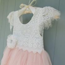 wedding photo - Blush pink tulle flower girl dress Lace flower girl dress Long flower girl dress White lace dress Girls birthday dress Beach wedding Boho