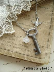 wedding photo - Antique Skeleton Key Necklaces. Rustic Wedding Jewelry. Vintage Key Necklace With Flower And Bird. Garden Wedding.