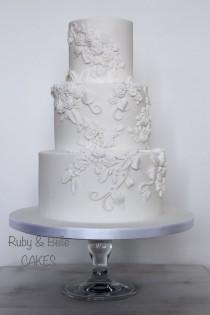 wedding photo - Elegant & Timeless Bas Relief Wedding Cake. Created By Ruby & Belle Cakes, Brighton, UK
