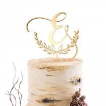 wedding photo - Letter Monogram Cake Topper Wedding Cake Topper  Custom Rustic Wedding Cake Topper Single Initial Wood Cake Toppers, Gold Letter E