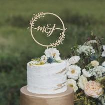 wedding photo - Rustic wedding cake topper, Custom wedding cake topper, Monogram wedding cake topper, Monogram cake topper,  Wooden cake topper