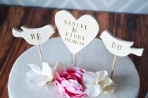 wedding photo - PERSONALIZED Heart Wedding Cake Topper with Names and Date and We Do Birds